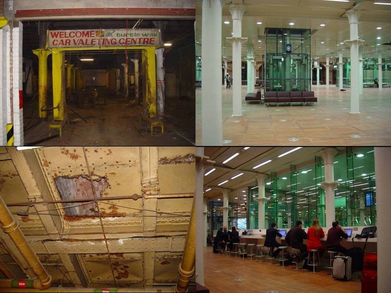 The departures lounge, before and after