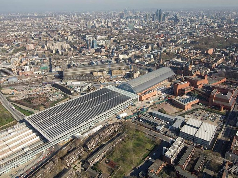 Aerial shot of extended St Pancras International