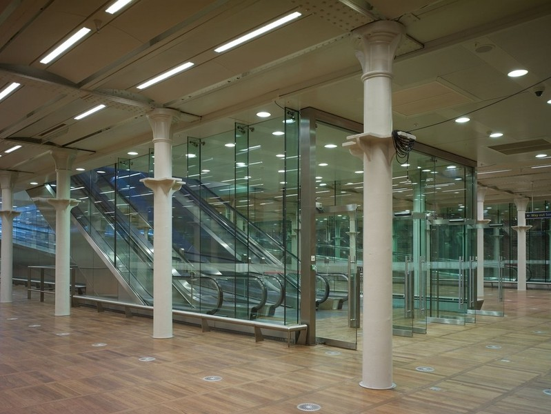 The arrivals hall with the former undercroft