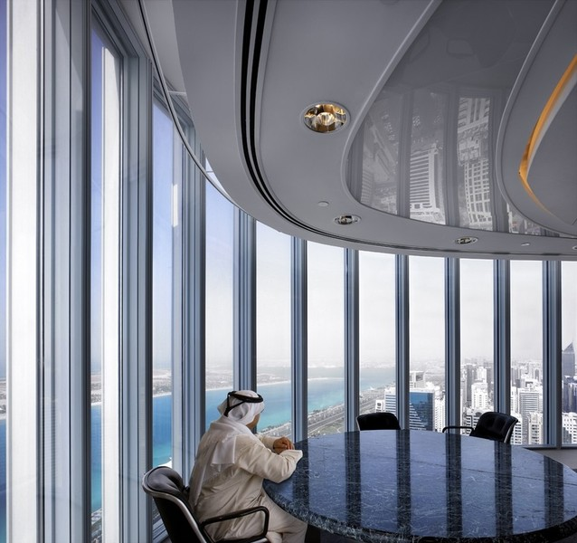 Interior end office: panoramic views of the Gulf
