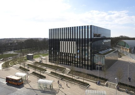 Overhead view of Corby Cube