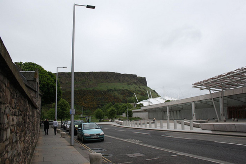 Scottish parliament building and Arthur's Seat