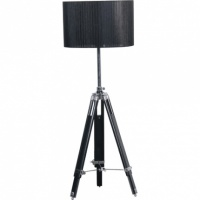 Black Organza Shade Tripod Floor Lamp