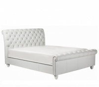 Chesterfield Bedframe White Shelley Leather