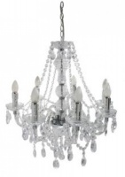 Clear Electric 7 Light Princess Antique French Pendant