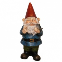 Grayson Garden Gnome With Bird Cast Resin Garden Statue