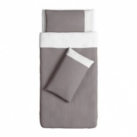 FÄRGLAV Quilt cover and 2 pillowcases, grey/white