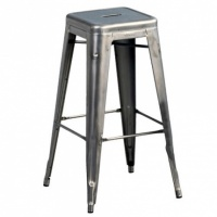Tolix-H High stool Varnished raw steel -H 75 cm