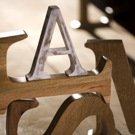 Distressed Mango Wood Letter A