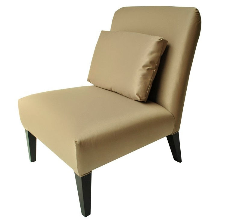 Modern Classic New Beige Silk Fabric & Wooden Legs Sonea Chair With Cushion