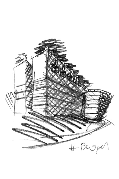 Leeum sketch by Mario Botta