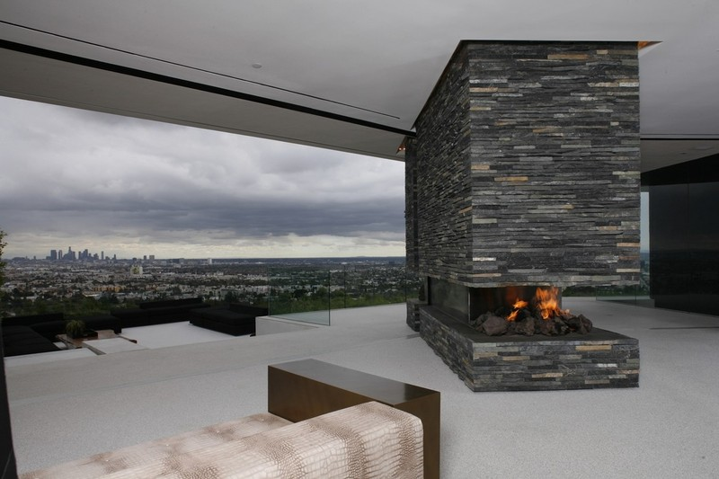 Stacked Granite Fireplace
